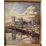 J.PARKER, Northern Artist, Salford Art Club, oil on board, Manchester Cathedral from Blackfriars,