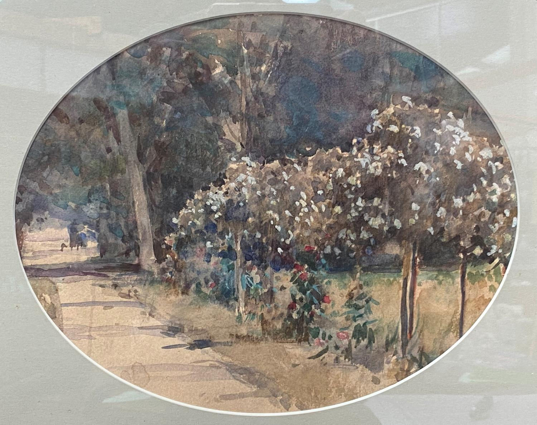 Z. Jasinski - (Polish) Trees in Park in Warsaw, oval watercolour attributed on reverse 24 x 30cm