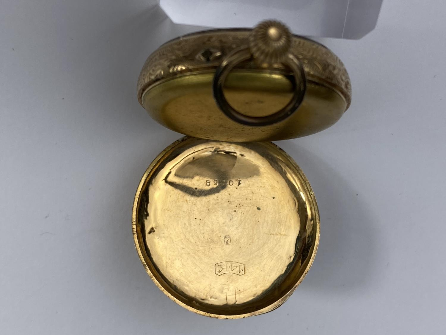 A continental yellow metal fob watch, stamped '14k' - Image 3 of 3