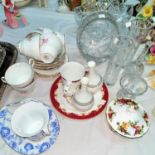 2 cut glass baskets and other glassware; a Regency floral part teaset and decorative china