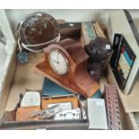 An Edwardian mantel clock, an Art Deco chrome clock, travel clocks and other collectables