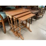 A yew wood reproduction set of 3 trio tables and similar 4 height chest of drawers
