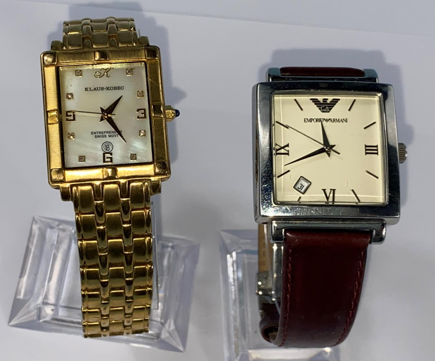 A Gent's Emporio Armani wristwatch and a Klaus Kobec wristwatch with mother of pearl dial and gilt - Image 2 of 2