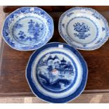 Three 18th / 19th century Chinese blue and white dishes, diameter 22cm (one with stapled