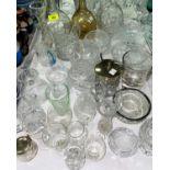 Two Edwardian claret jugs; cut glassware; boxed cutlery