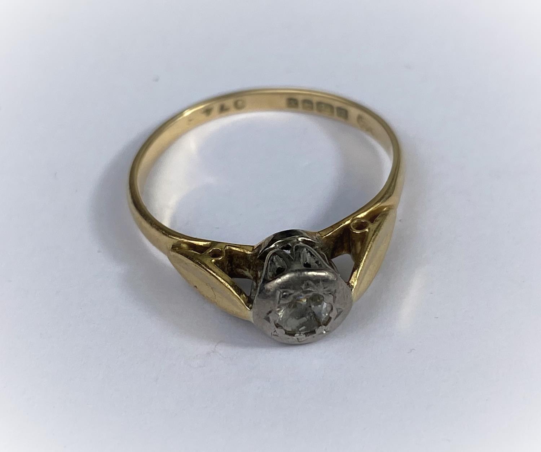 A vintage dress ring set diamond, on 18 carat hallmarked gold shank Birmingham 1972, size M, 2.4gm - Image 2 of 2