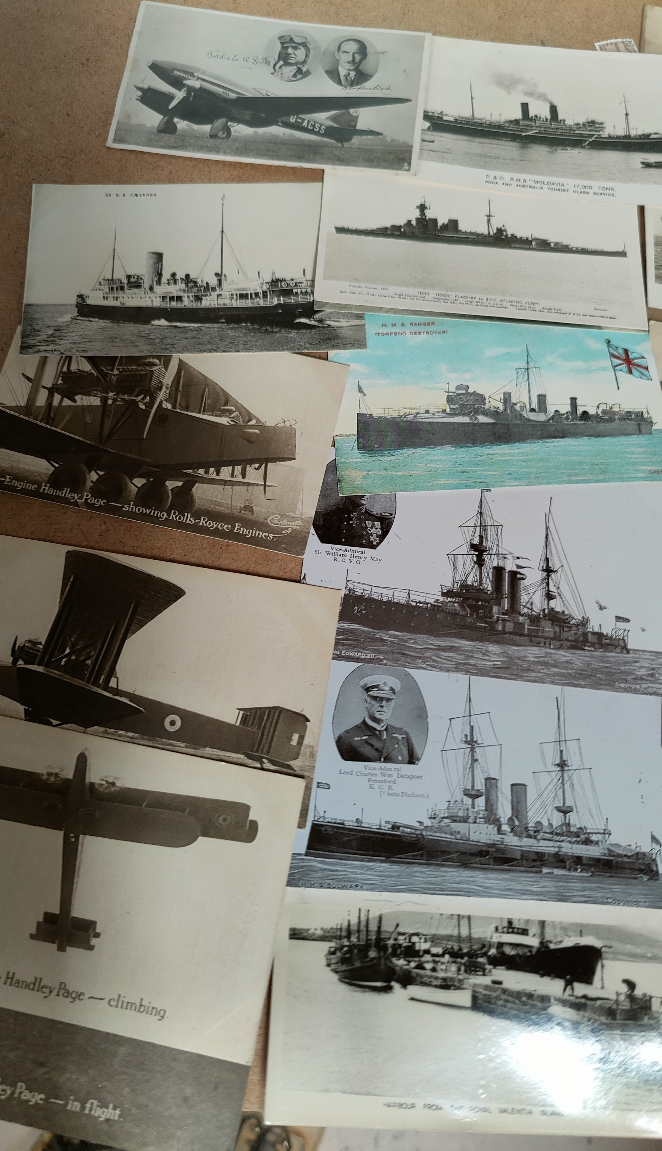An RMS Titanic memorial postcard, other ships and 5 cards depicting Handley Page aircraft - Image 3 of 3