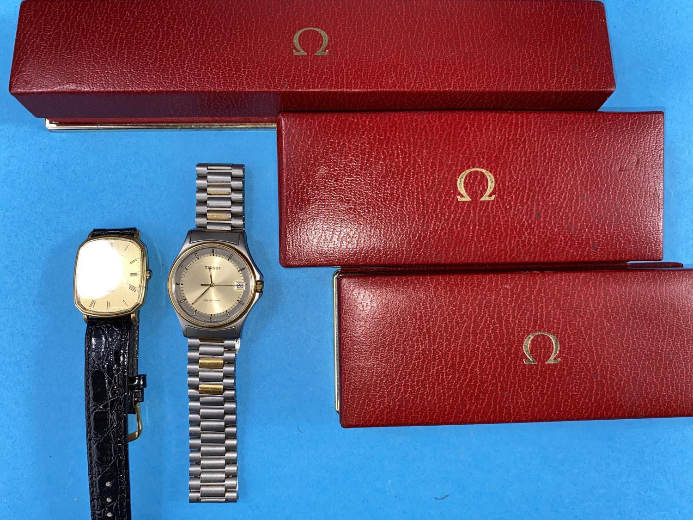 3 Omega watch cases, Tissot Seastar and a Raymond Weil watch