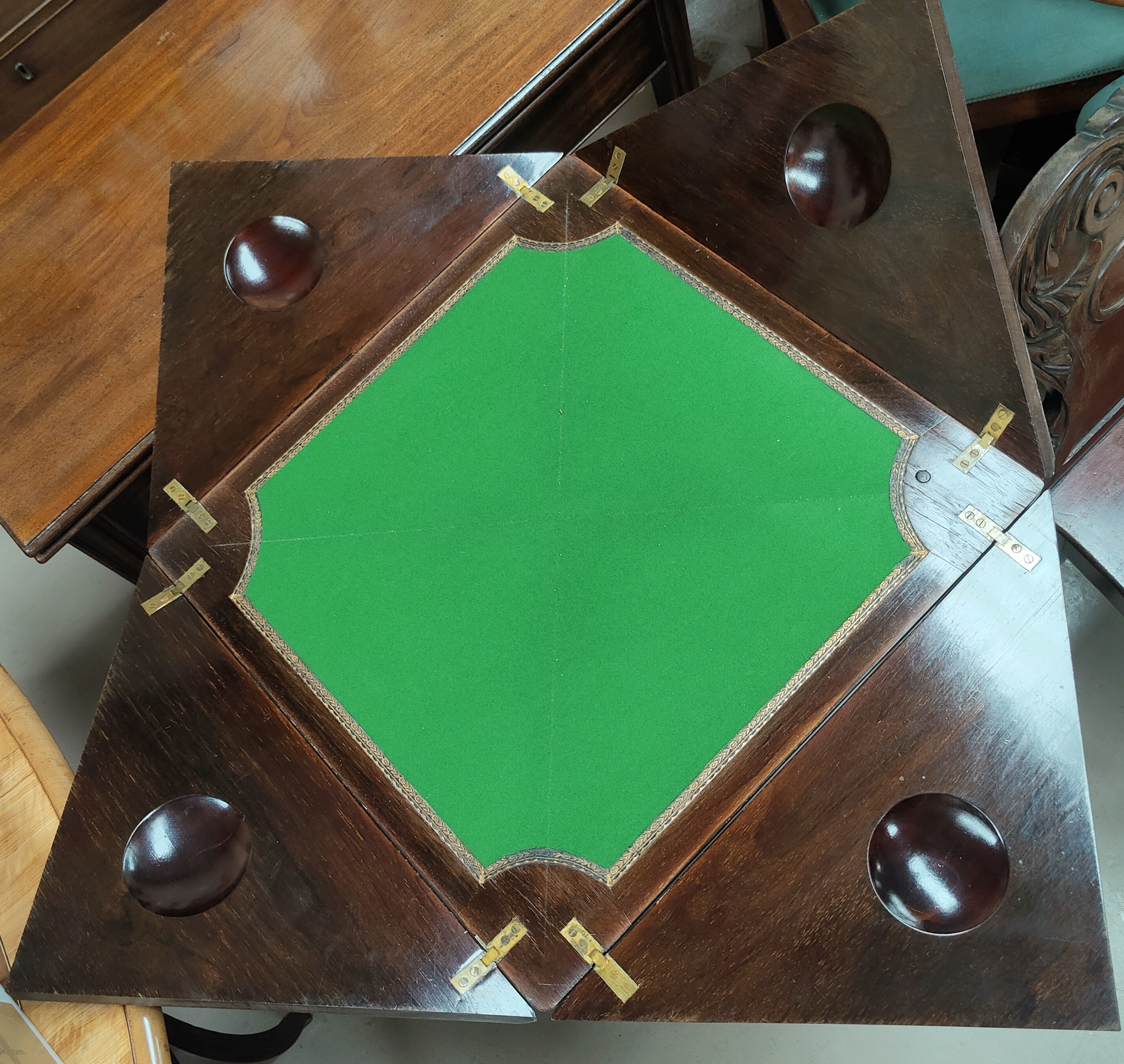 A Victorian Rosewood envelope card table with floral inlay to the top with satinwood inlay with - Image 2 of 2