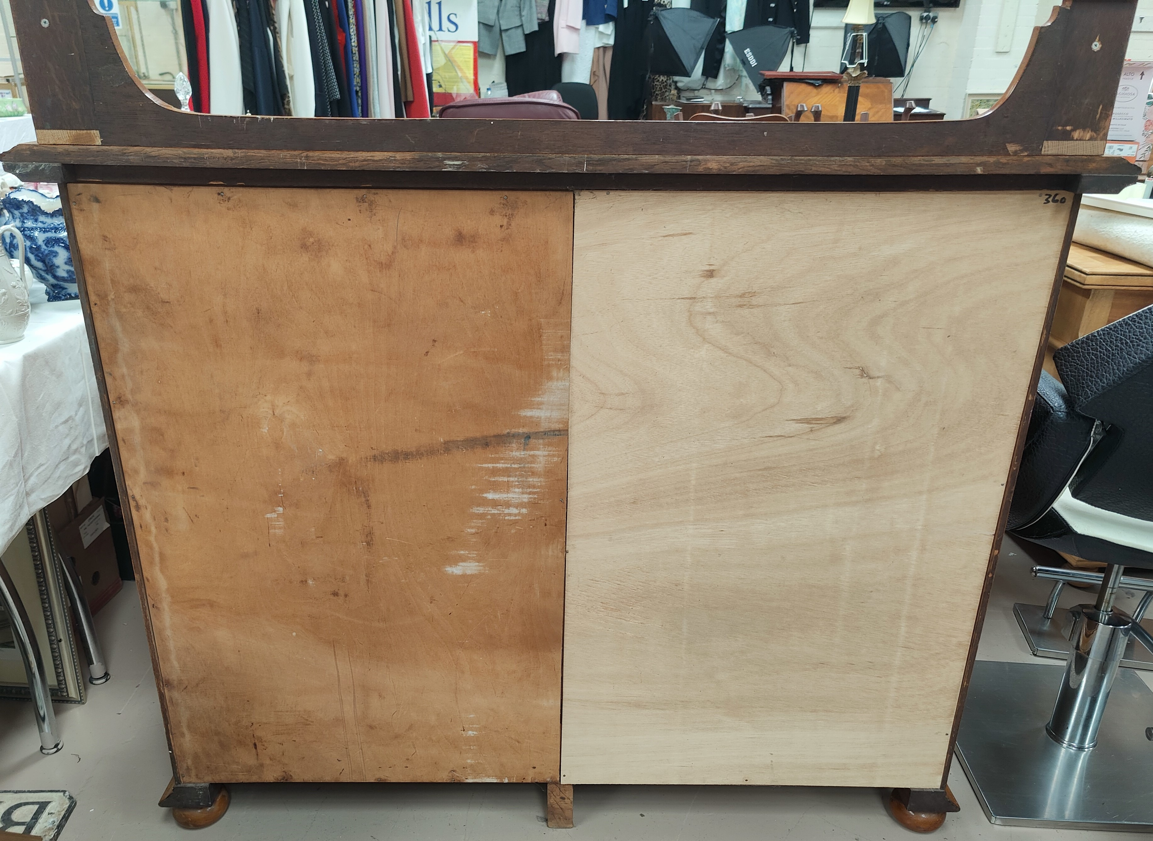 A large Golden Oak sideboard/side cabinet with doubled paneled doors, two drawers with brass drop - Image 2 of 2