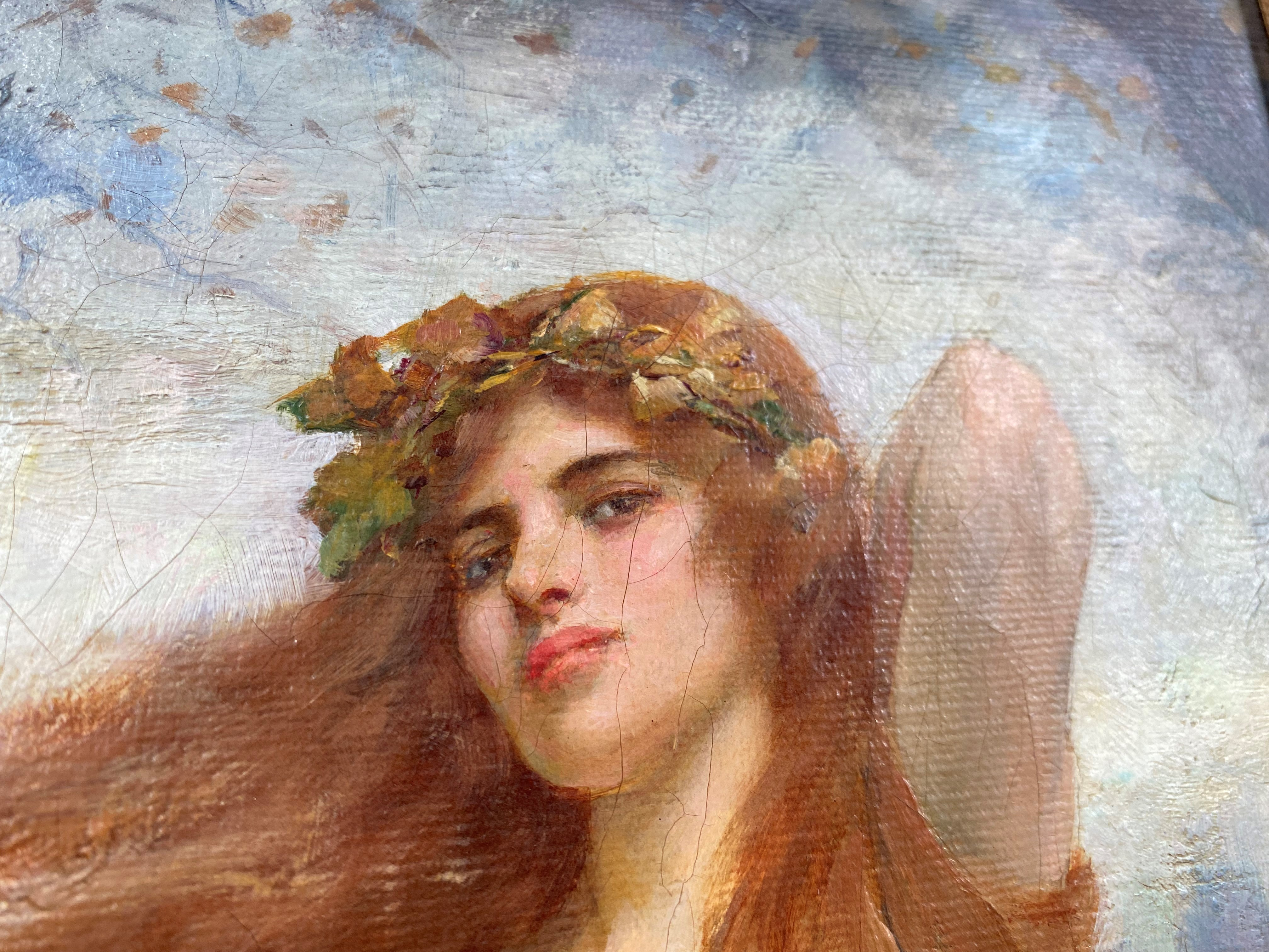William Breakspeare (British 19th Century): oil on canvas, pre-Raphaelite portrayal of a young woman - Image 7 of 7