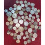 A selection of GB and foreign silver coins, 8.7oz