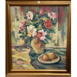 M Balosludchev - still life of flowers & fruit, oil on canvass, signed, inscribed on reverse 47 x 49