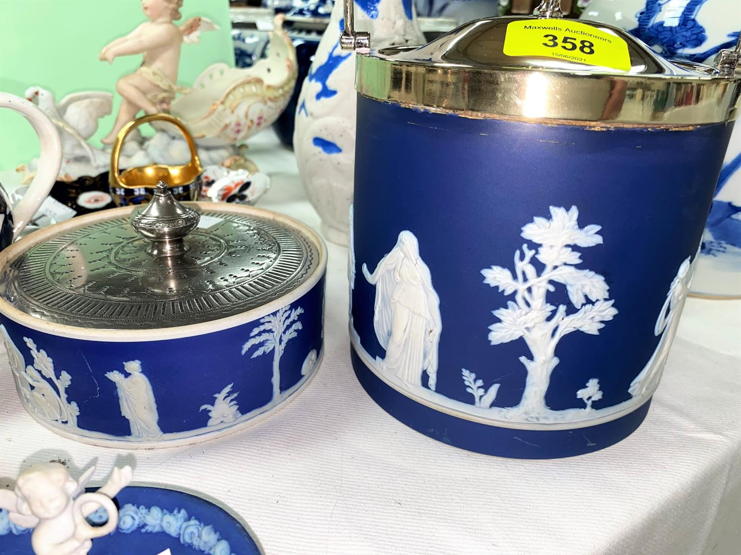 An Adams blue jasperware biscuit barrel with silver plated mounts, 16 cm; other similar pieces - Image 4 of 5