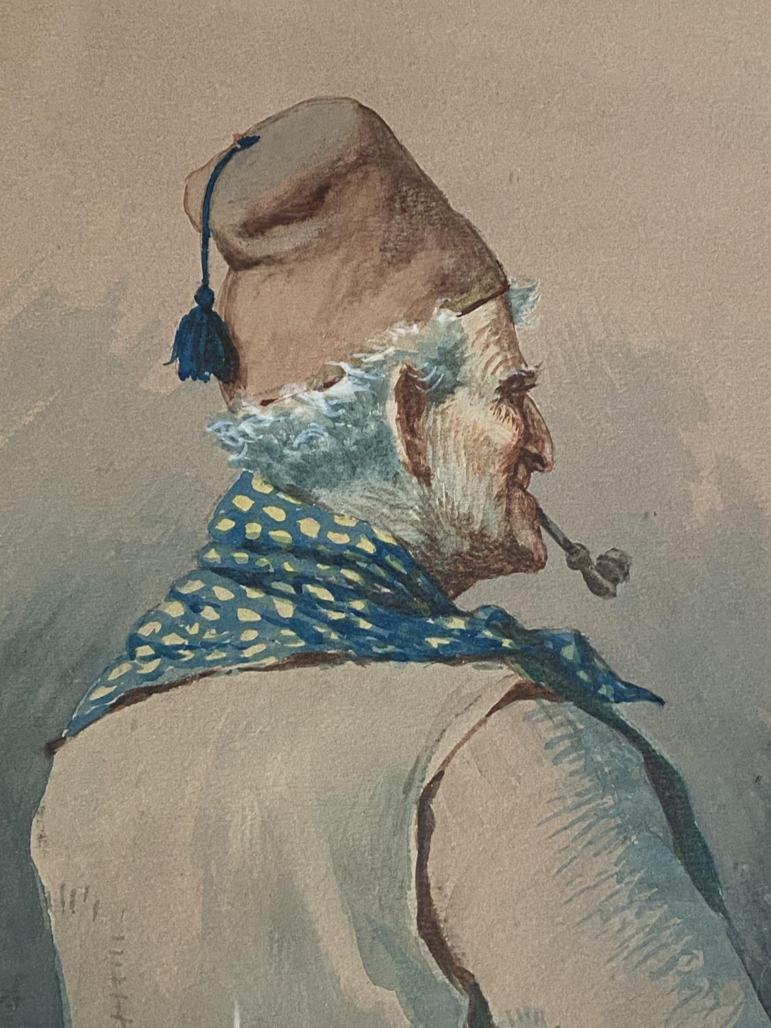 Nap Girotto: Peasant man in fez, smoking a pipe, watercolour, signed, 34 x 24 cm, framed and glazed - Image 2 of 3