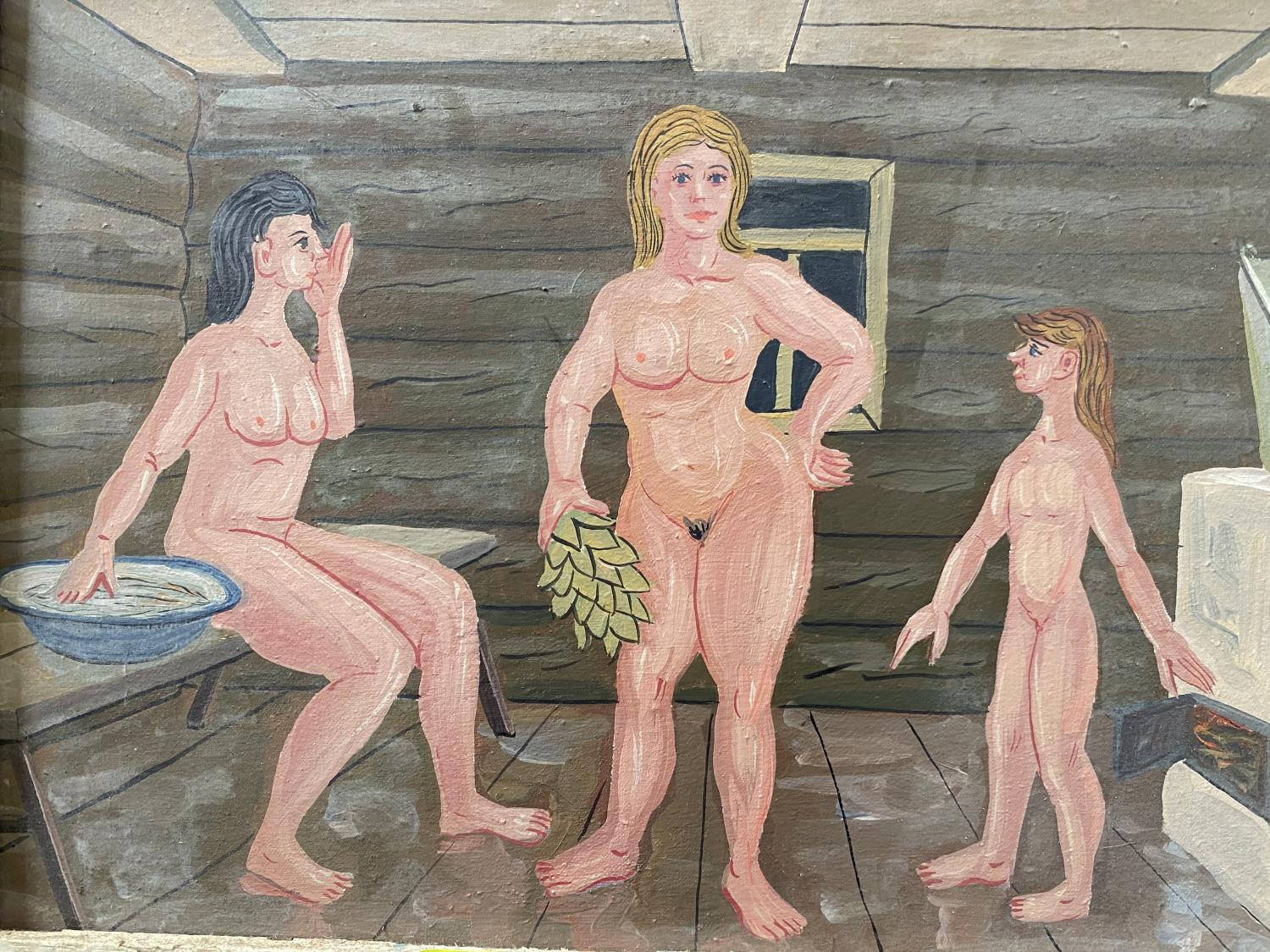 E.G. Galkin - In the Banya (bath house), oil cartoon, oil on canvass & board, inscribed on reverse - Image 2 of 2