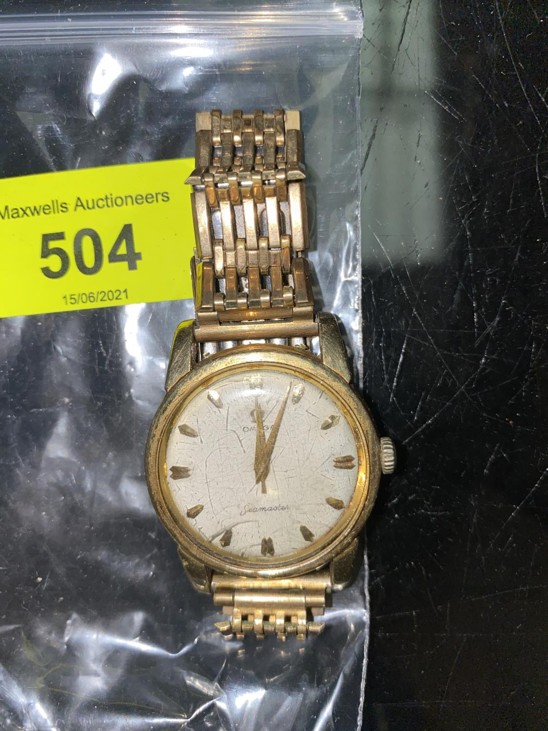 A vintage Omega Seamaster 17 jewel wristwatch with baton numerals and center seconds hand, no - Image 2 of 4