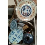 A Japanese charger and a selection of modern oriental and other ceramics