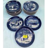 Fifteen Royal Copenhagen Christmas plates, 1970's-1990's
