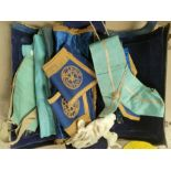 A selection of masonic regalia in leather bag; 4 aprons; etc.