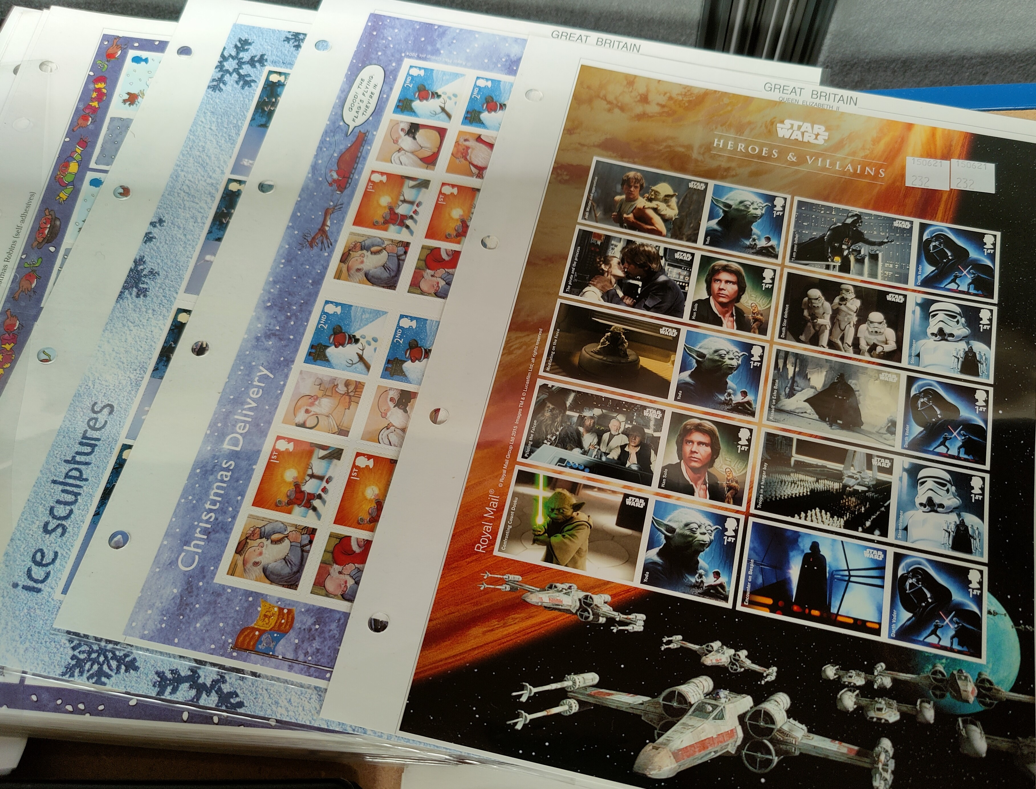 """A collection of 5 Royal Mail """"Smilers"""" sheets, 100 1st class stamps 2001/2002. 7 further sheets with"""