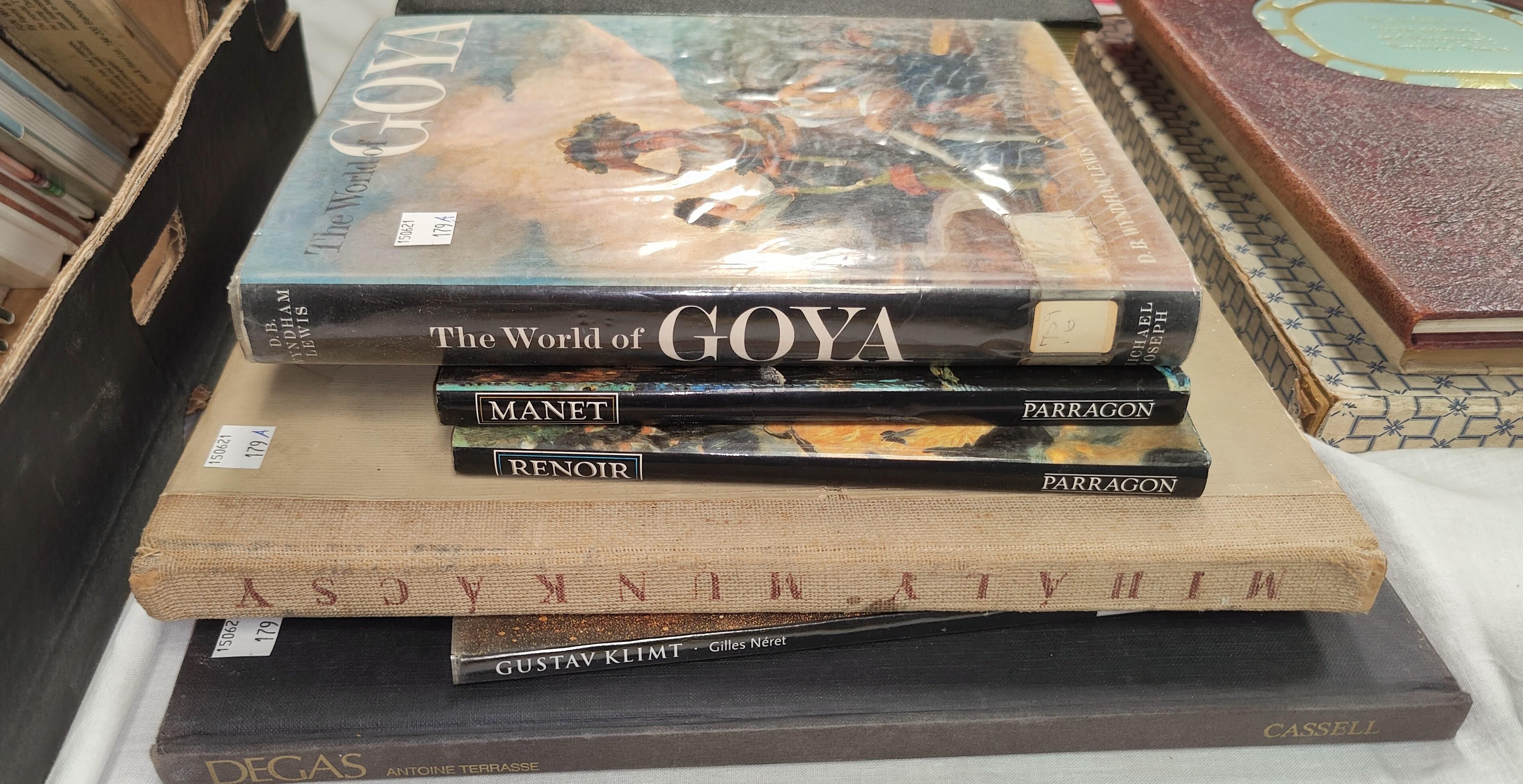 A selection of books on Artists , Mihály Munkácsy 1952 publication, The World of Goya etc