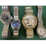 A Seiko SQ50 chronograph wristwatch; a Seiko alarm chronograph and 2 others