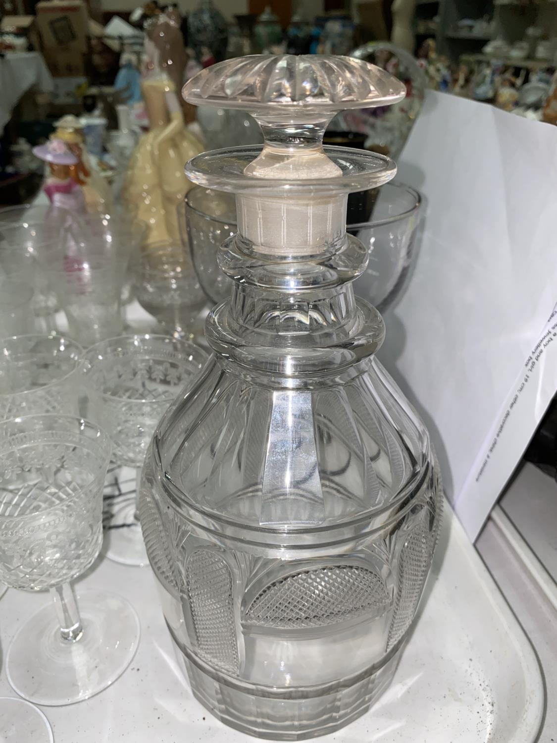 A Georgian cut glass decanter, other 19th century glass to include custard cups and a large rummer - Image 4 of 4