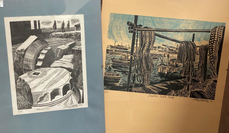 "John Liddell: ""Baiter Point Poole"" & ""Akropolis"", 2 artist signed lino cuts, 38 x 30 cm & 22 x 17"