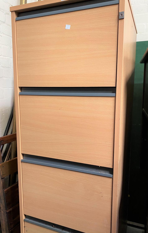 A 4 drawer wooden filing cabinet; a 3 height bookshelf