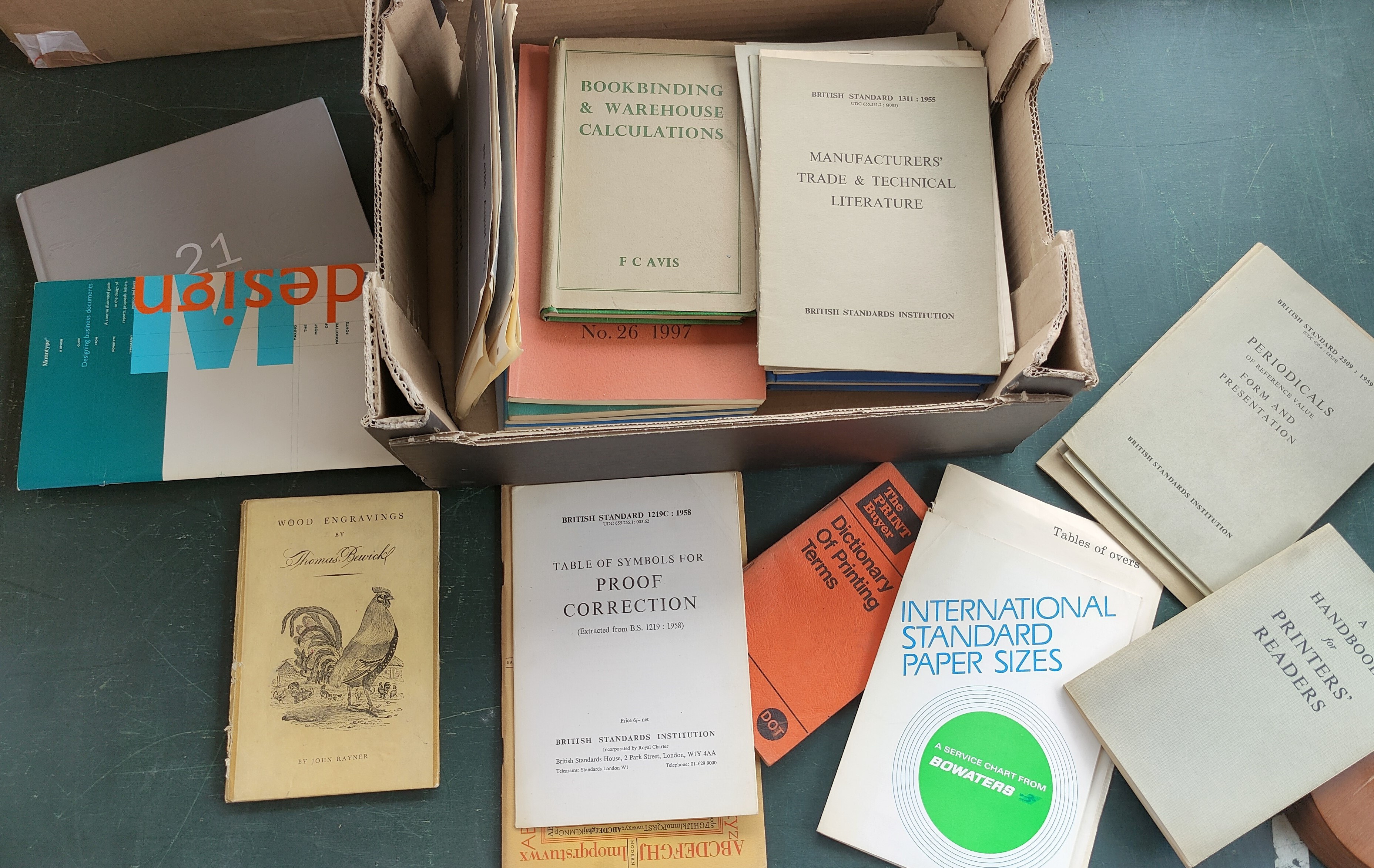 A selection of books and pamphlets on printing and the printing trade