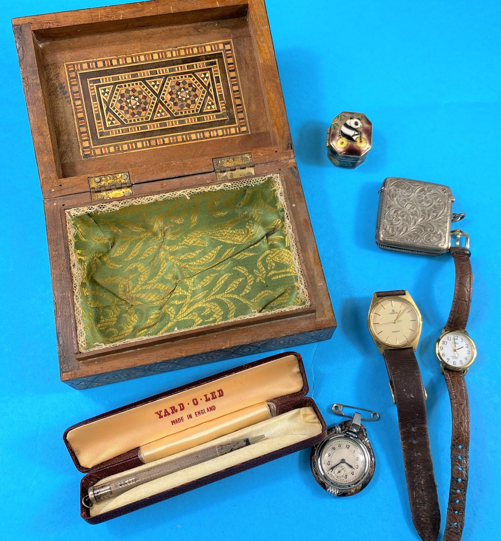 A hallmarked silver Vesta case, Swiss army knife etc