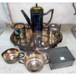 A continental Bauhaus style silver plated coffee service on oval tray, a Garrard EPNS tray, other