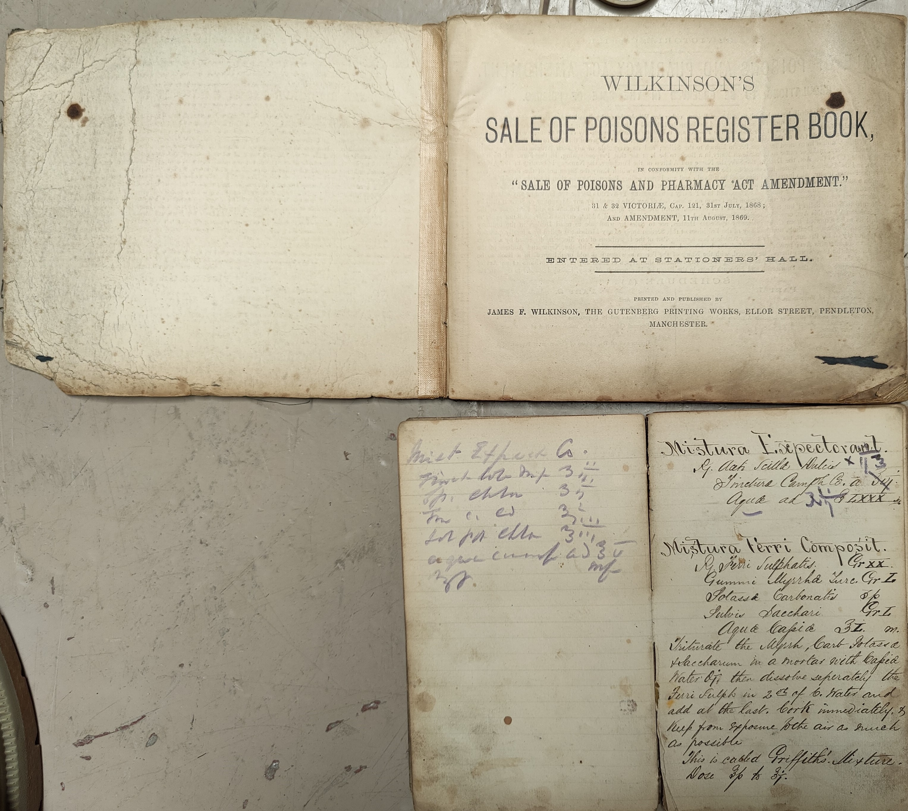 A 19th Century pharmacy receipt book, 29 LL and a poison register with entries starting 1904.
