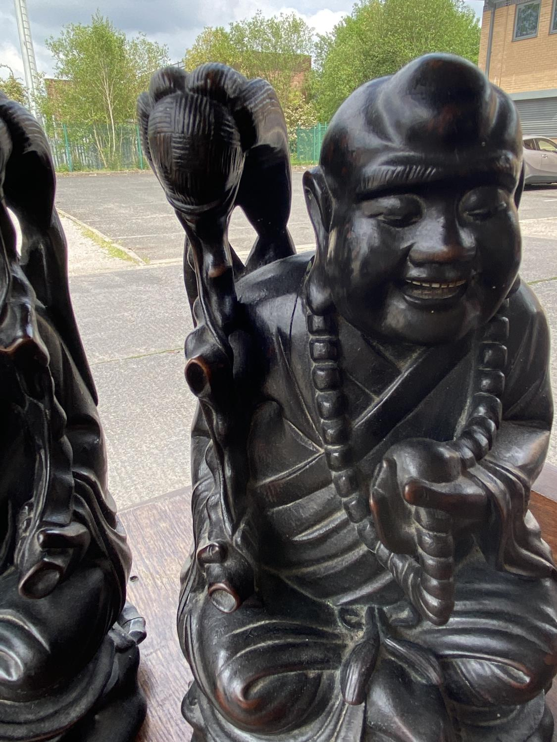 Two Chinese carved hardwood figures of seated sages height 25cm - Image 2 of 3
