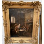19th Century DUTCH SCHOOL - oil on canvas, genre scene with card players in tavern, unsigned, 48 x