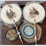 Two Chinese screen fans with traditional scenes, other oriental material pieces in brown small