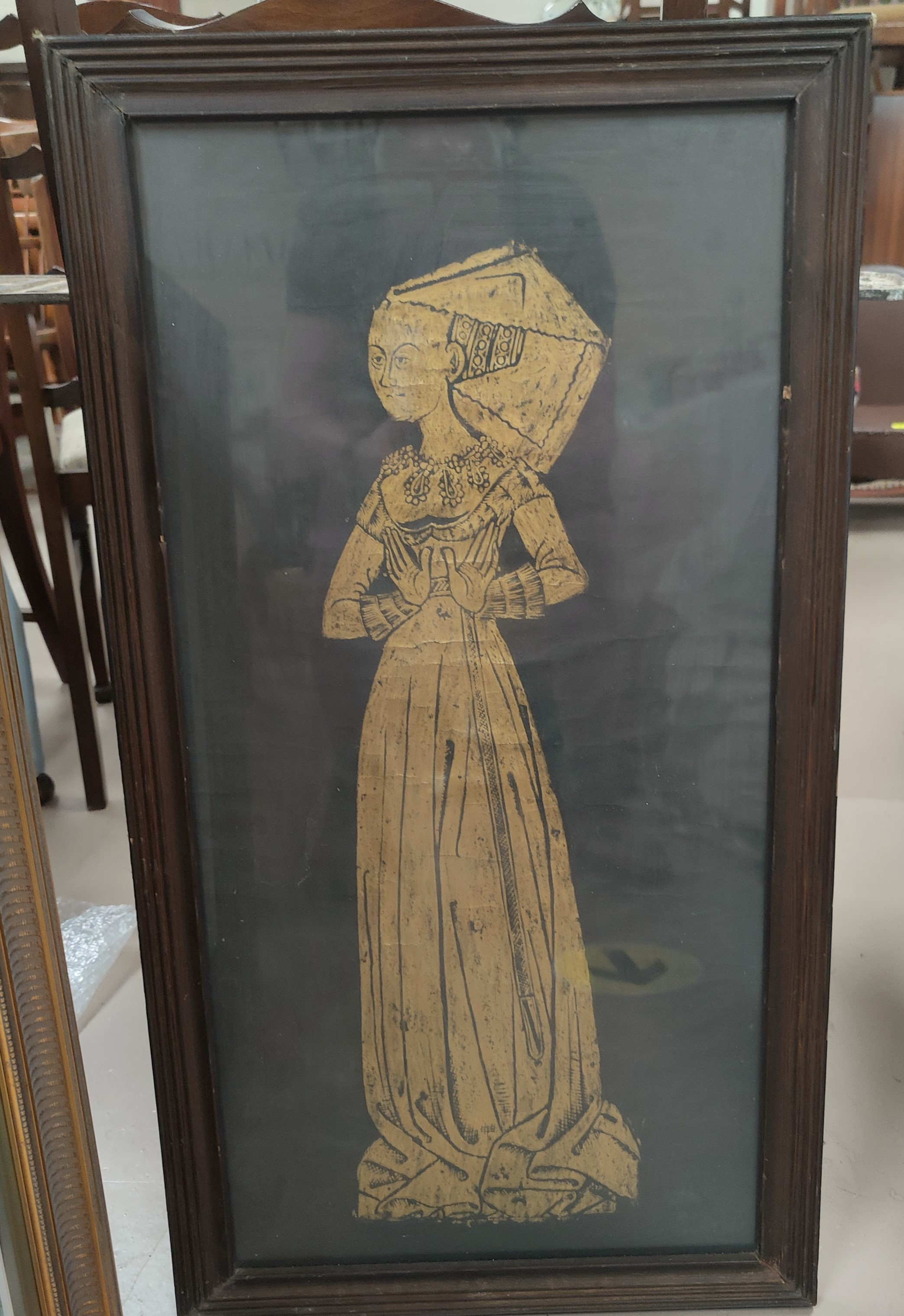 A 20th century brass rubbing of Margaret Frances Peyton, the 'Lacy Lady in Italian Brocade'. Died