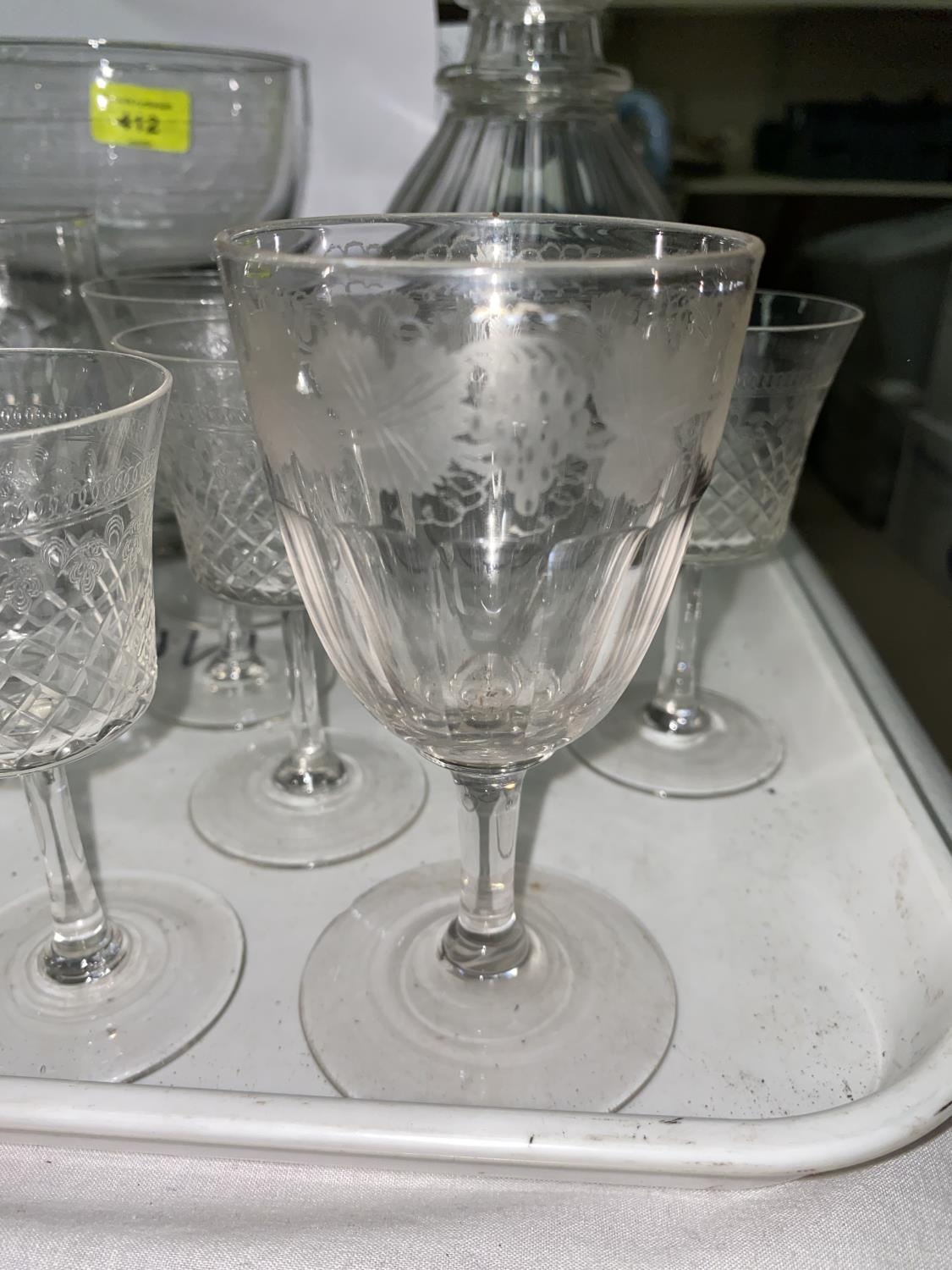 A Georgian cut glass decanter, other 19th century glass to include custard cups and a large rummer - Image 2 of 4