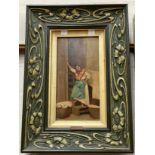 "Anton Sturza: oil on panel, ""The Laundry"" 24 x 12 cm, signed, art nouveau painted gesso sign"