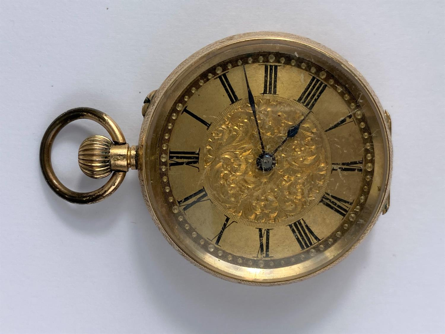 A continental yellow metal fob watch, stamped '14k'