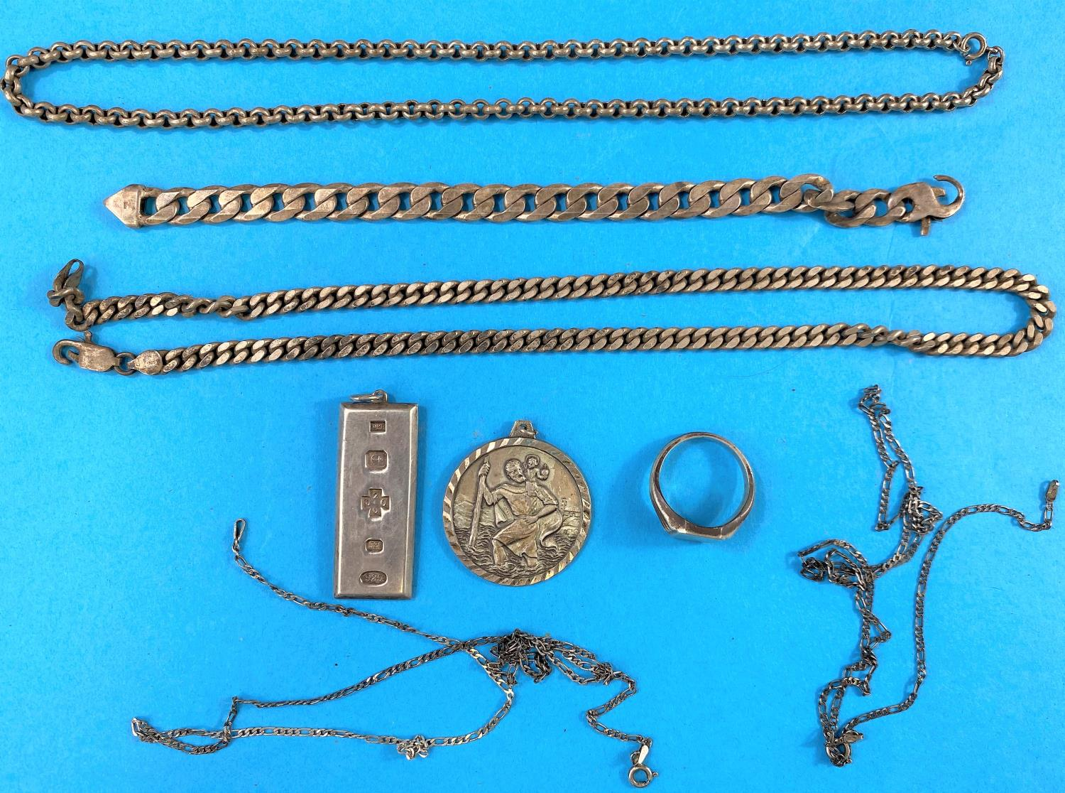 A silver ingot stamped 925, a selection of silver jewellery some stamped 925, some hallmarked silver