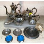An EPBM 4 piece tea service; other items of silver plate