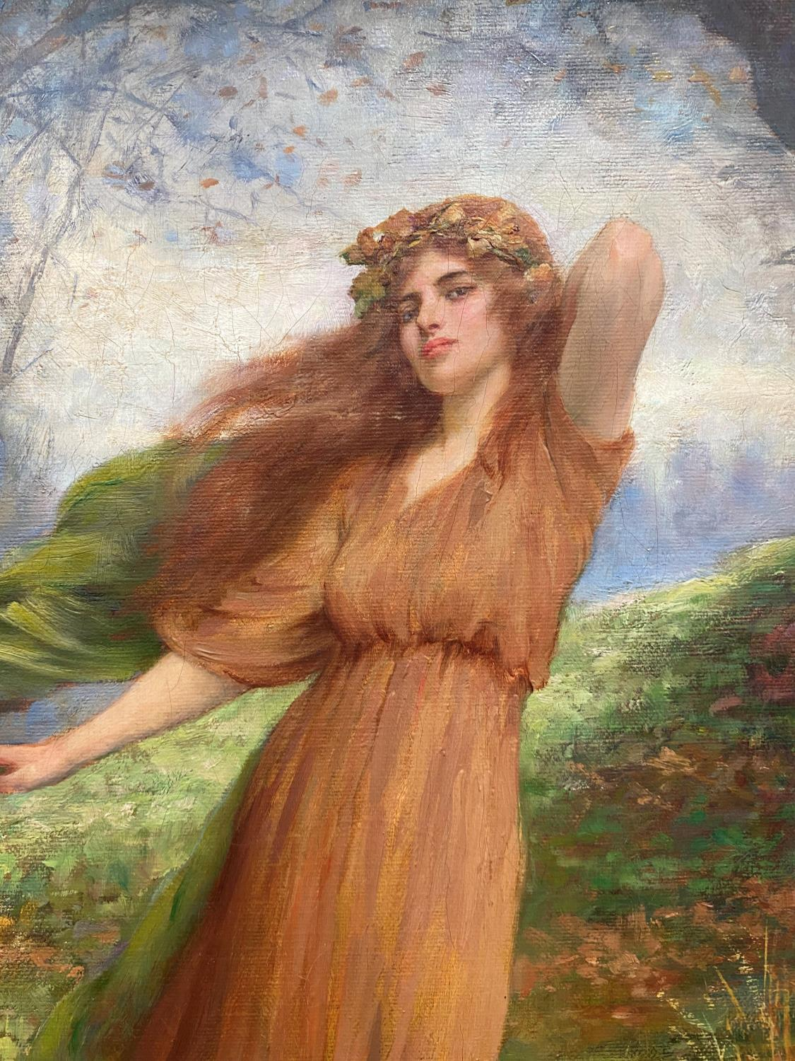 William Breakspeare (British 19th Century): oil on canvas, pre-Raphaelite portrayal of a young woman - Image 2 of 7
