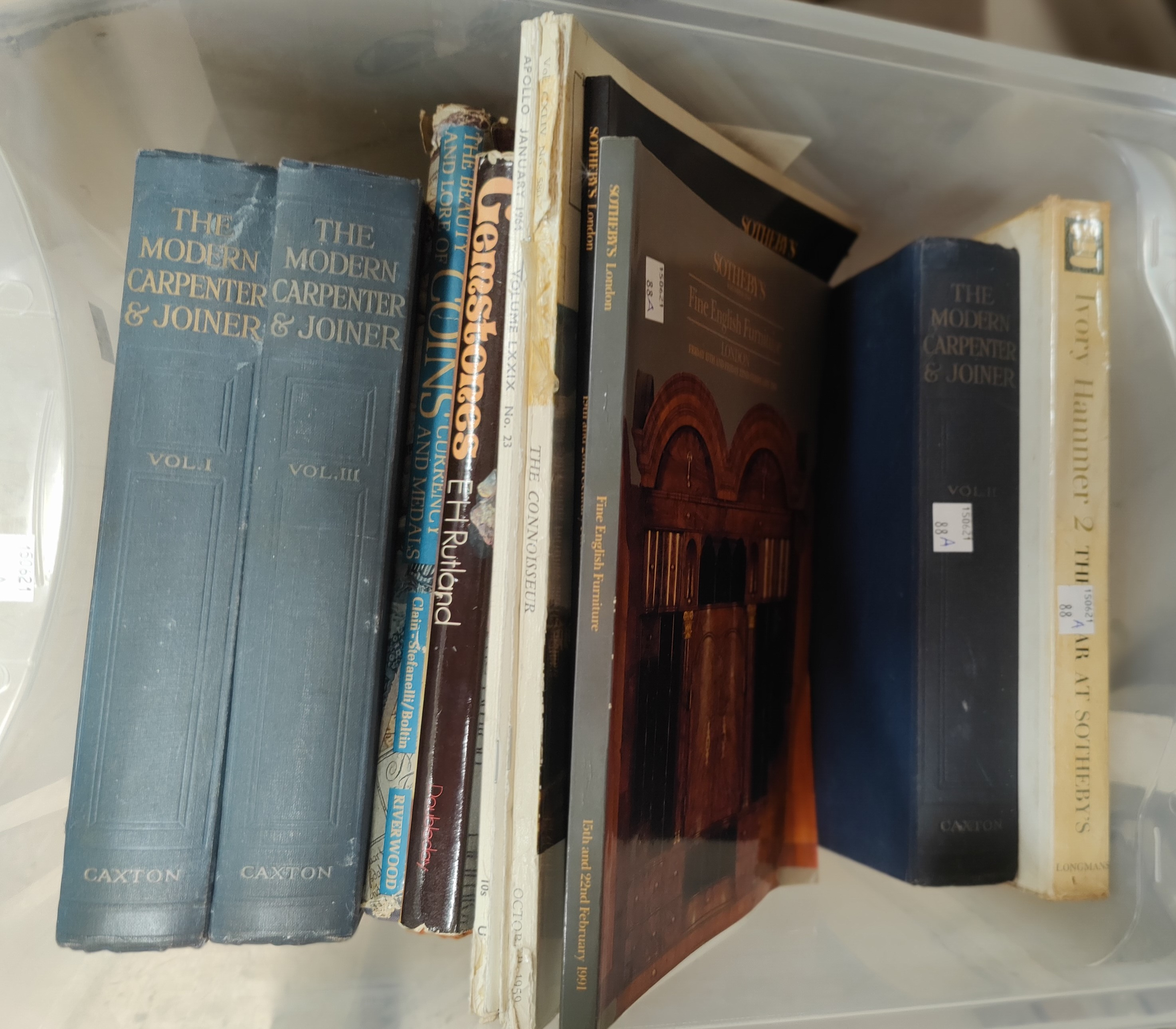 A collection of books on antiques and gem stones, The Modern Carpenter and Joiner etc