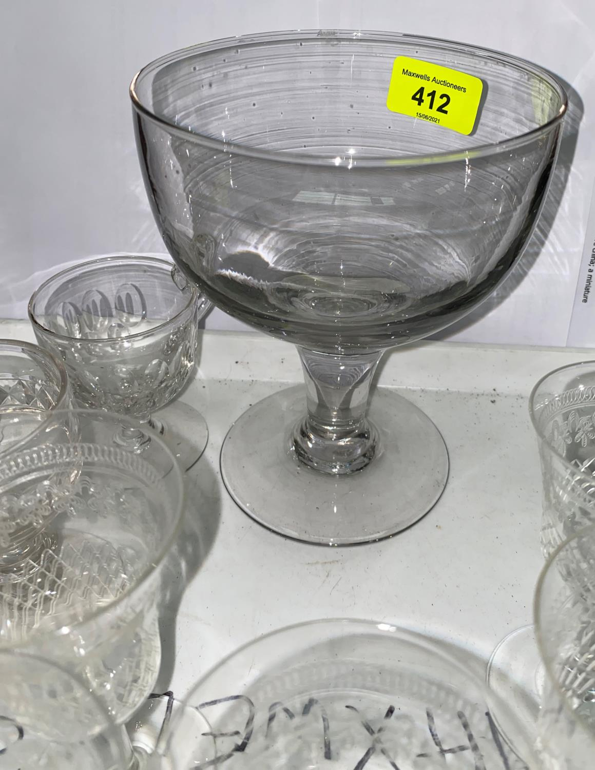 A Georgian cut glass decanter, other 19th century glass to include custard cups and a large rummer - Image 3 of 4