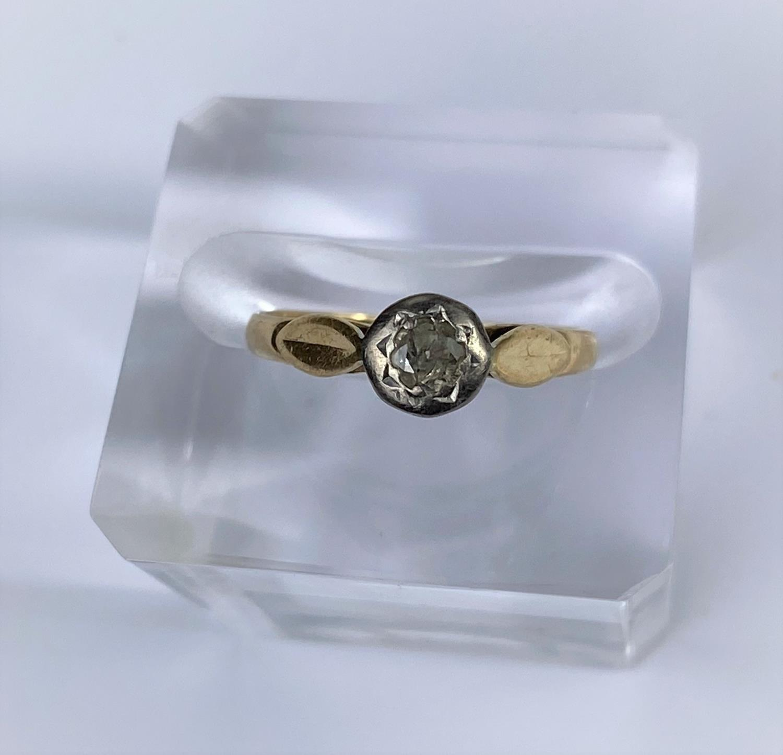 A vintage dress ring set diamond, on 18 carat hallmarked gold shank Birmingham 1972, size M, 2.4gm