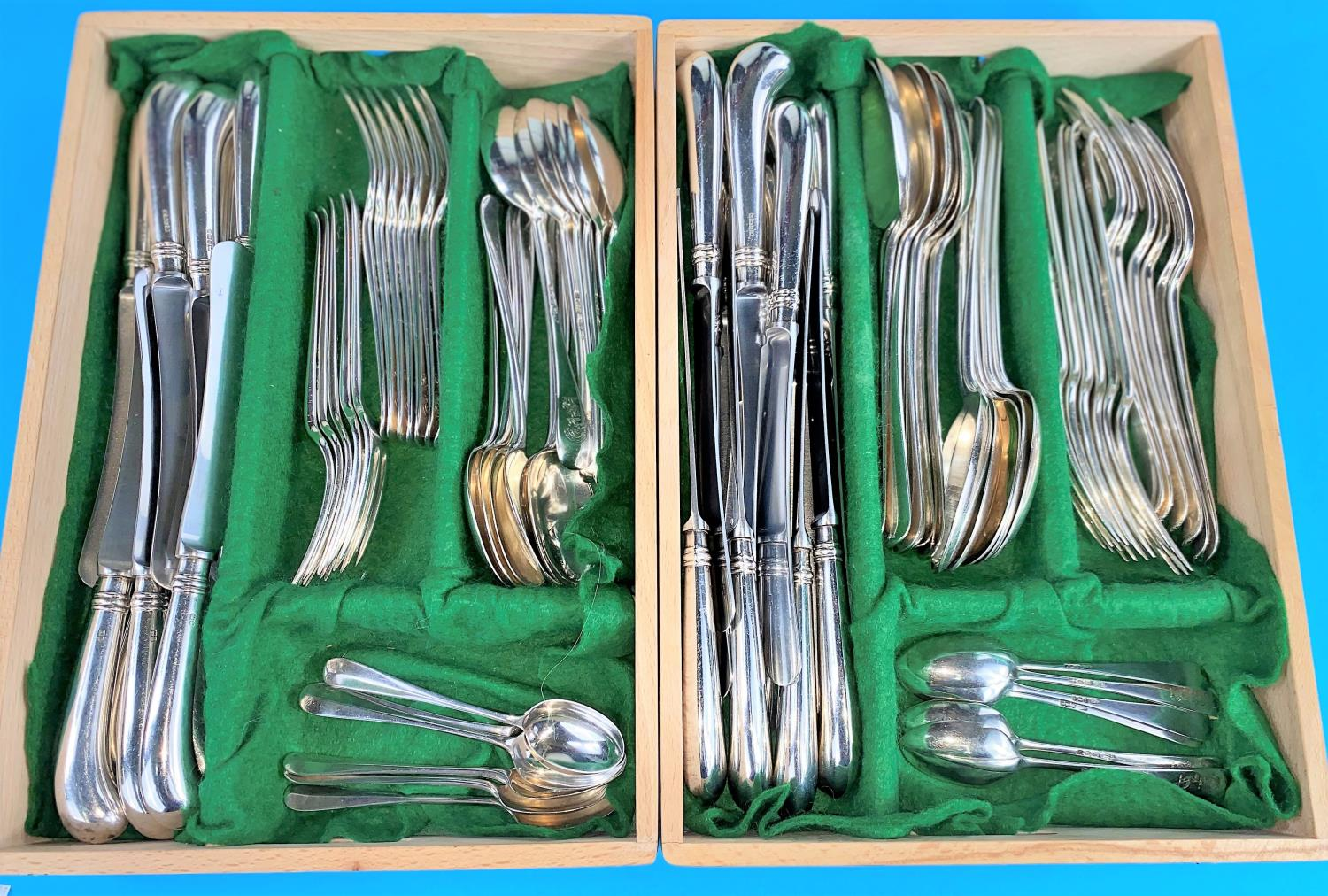 A Hanoverian pattern canteen of silver cutlery comprising 12 table forks, 12 dessert spoons and 12 - Image 2 of 9