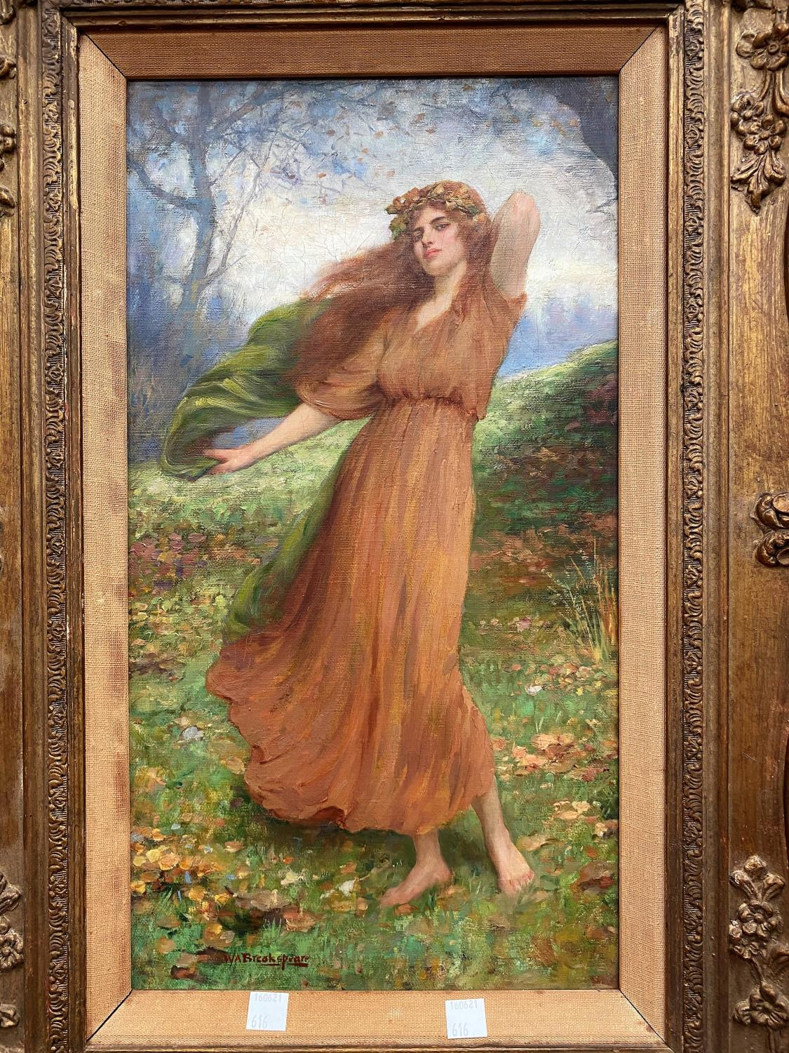 William Breakspeare (British 19th Century): oil on canvas, pre-Raphaelite portrayal of a young woman
