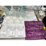 An Edinburgh Crystal set of 6 goblets, boxed; 6 cut saucer champagnes; glassware